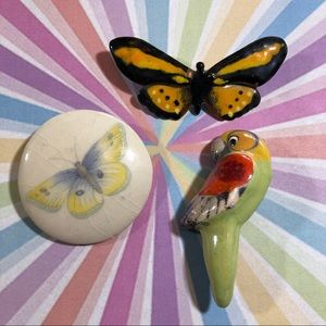 Trio of vintage critter pins 80's butterfly bird